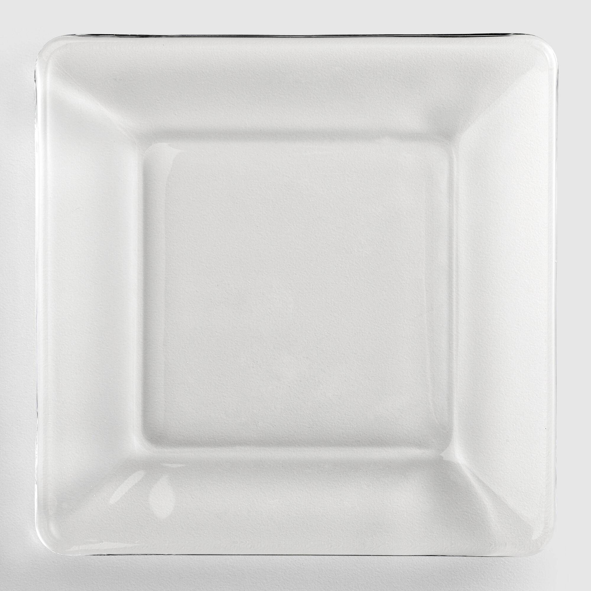 Glass Dessert Plates  Tempo Square Glass Dessert Plate