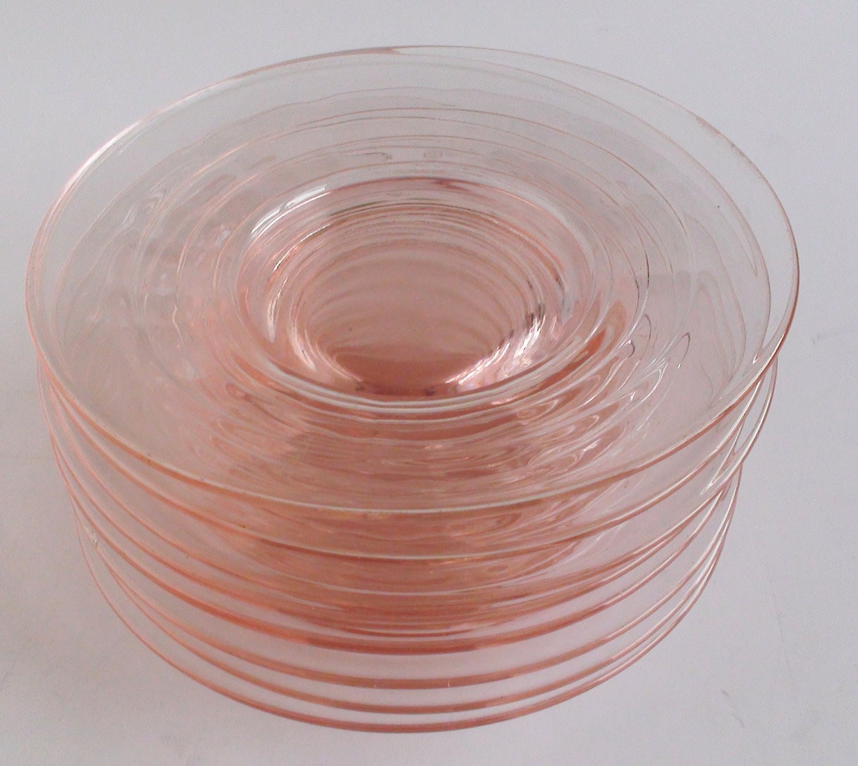 Glass Dessert Plates  Vintage Pink Depression Glass Dessert Plates Set of 8