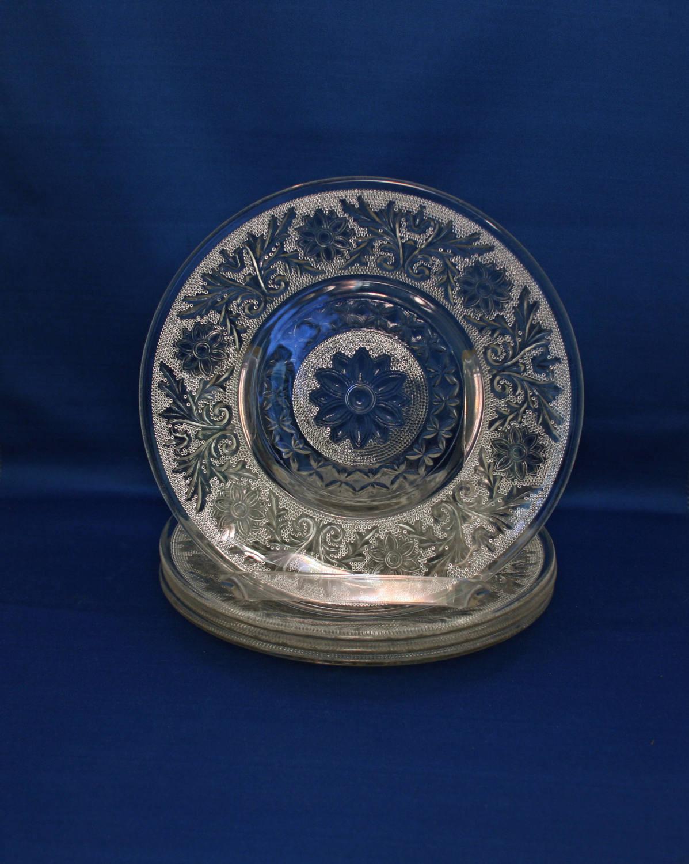 Glass Dessert Plates  Vintage set of 4 Anchor Hocking Crystal Sandwich Plate