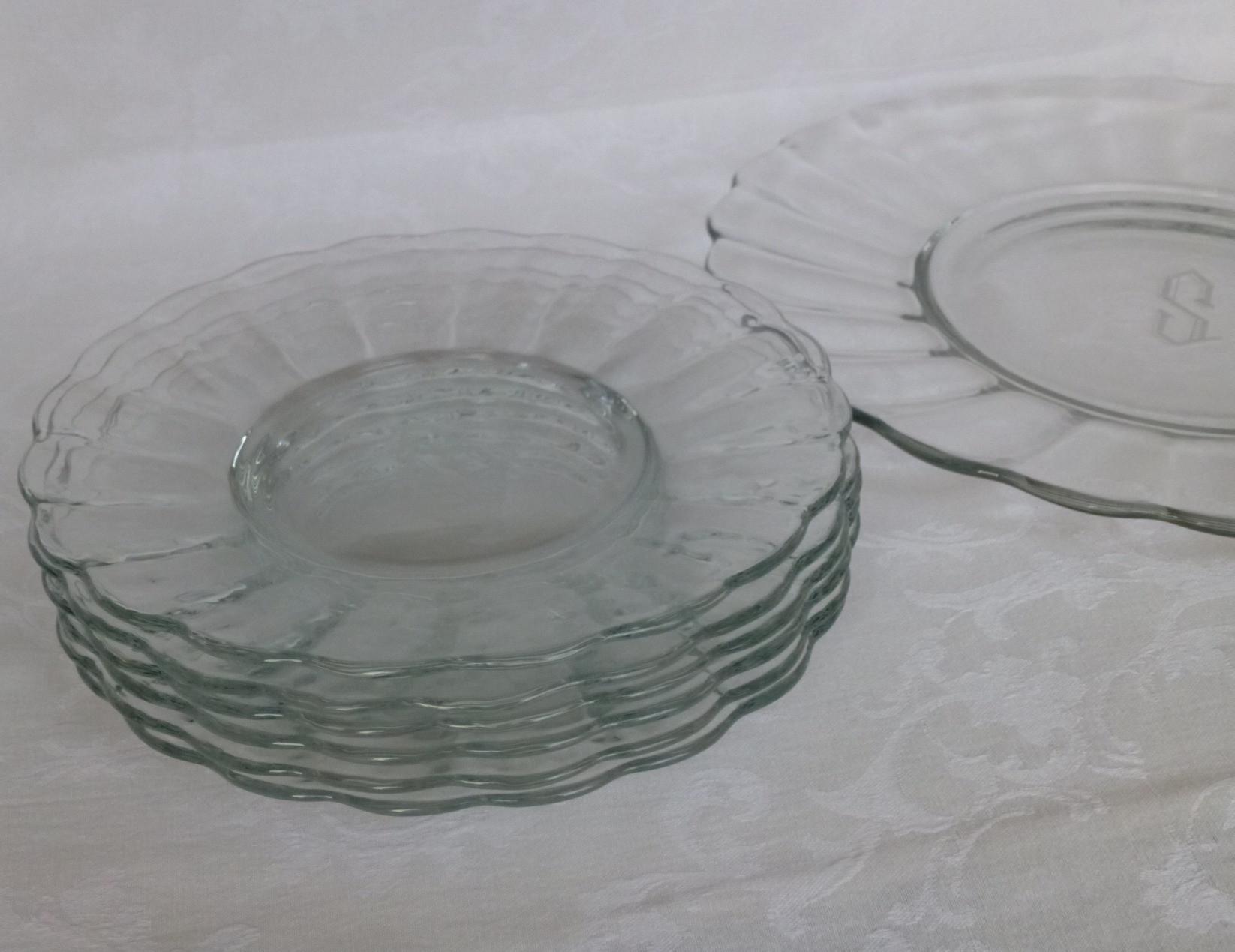 Glass Dessert Plates  OG 0031 Blown Glass dessert plate set monogram S service