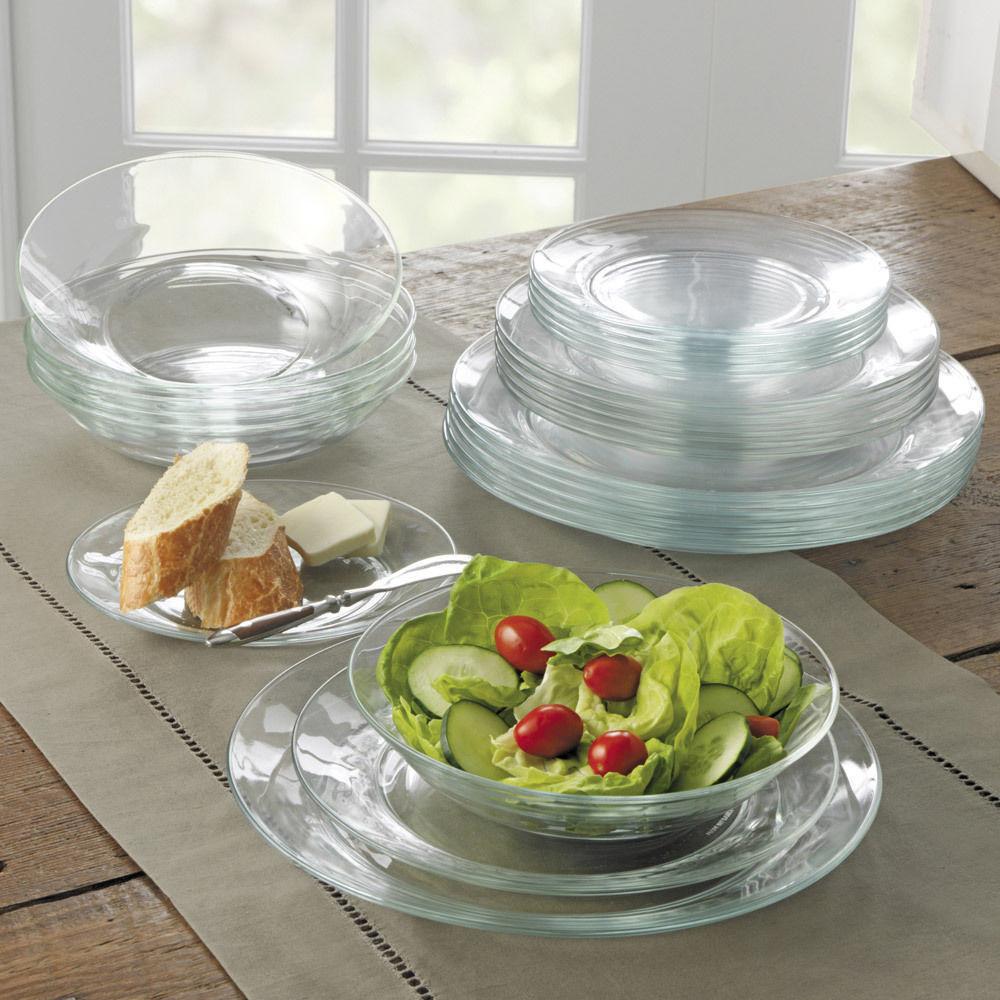 Glass Dinner Plates  DURALEX LYS CLEAR GLASS DINNER WARE PLATES SET OF 6