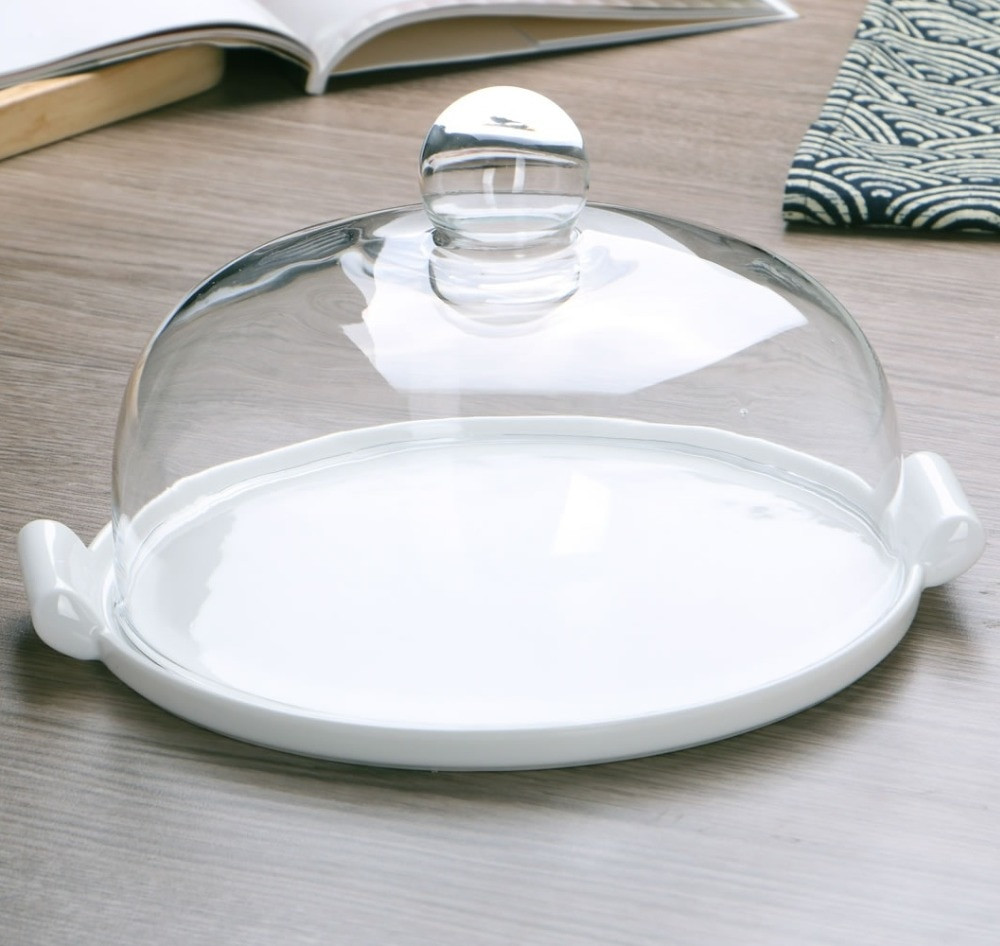 Glass Dinner Plates  Ceramic Dinner Plate with Glass Cover Decorative Porcelain