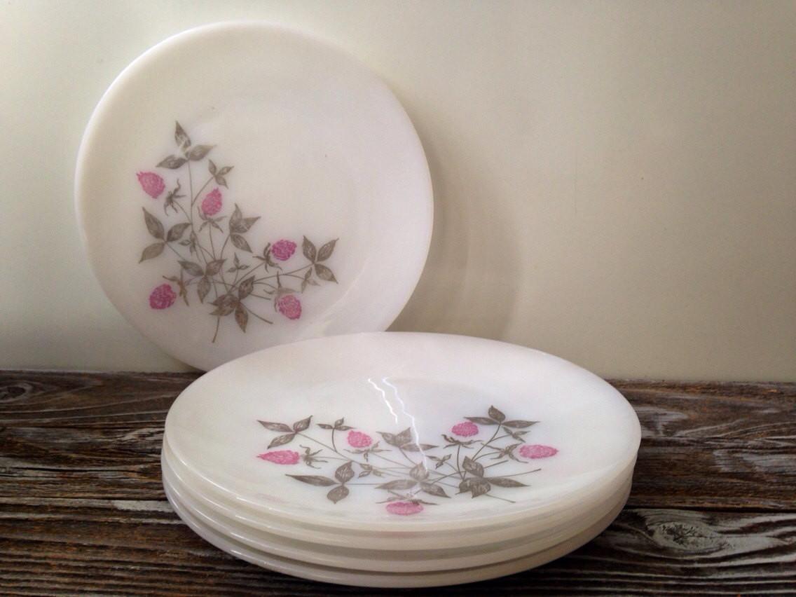 Glass Dinner Plates  5 Vintage Milk Glass Clover Blossom Dinner Plates Vintage