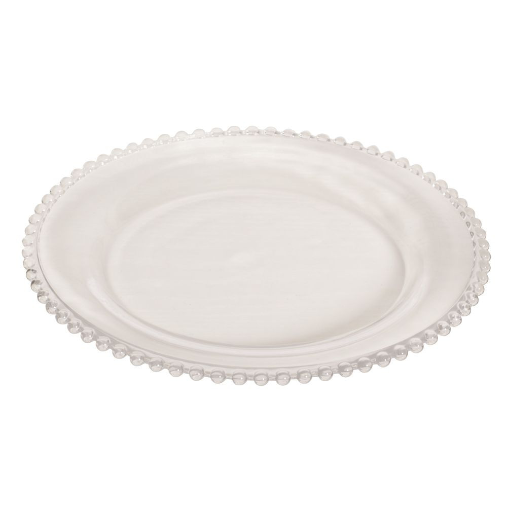 Glass Dinner Plates  Bella Perle Clear Beaded Glass Dinner Plate