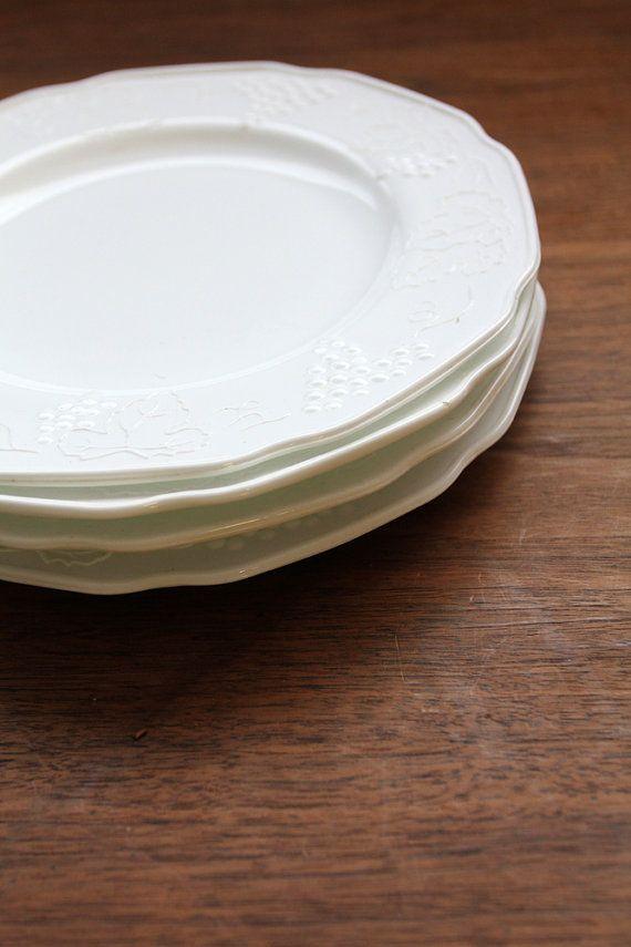 Glass Dinner Plates  Vintage Milk Glass Plates Colony Harvest Plate Set 4