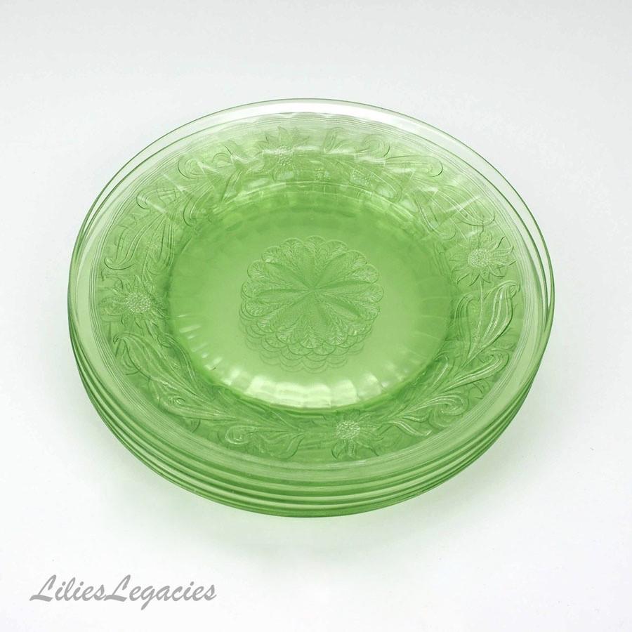 Glass Dinner Plates  Vintage Jeannette Green Depression Glass Sunflower Dinner