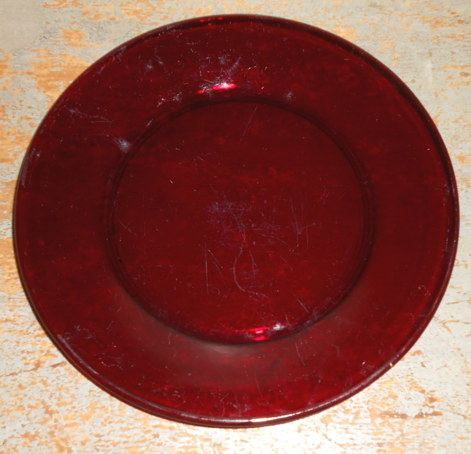 Glass Dinner Plates  Vintage Plates Ruby Red Dinner Plates Red Glass Red