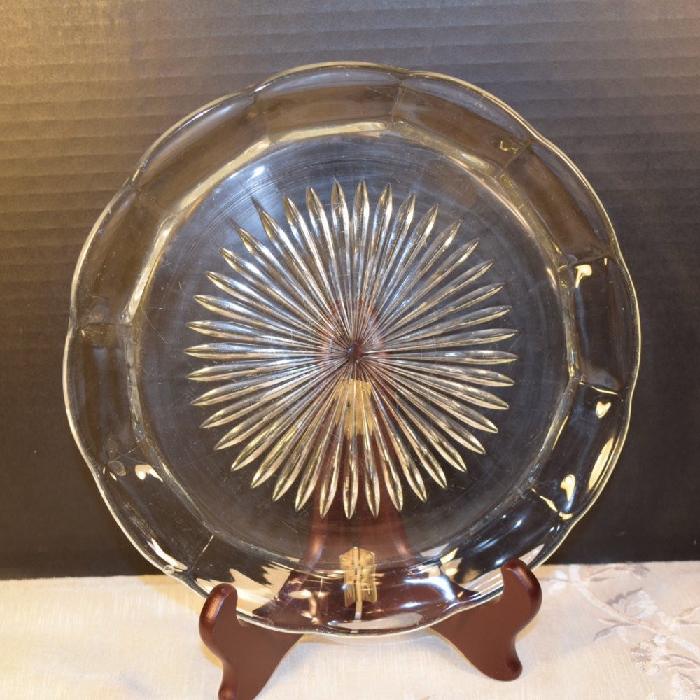 Glass Dinner Plates  Pressed Glass Dinner Plate Vintage Scalloped Clear Glass Plate