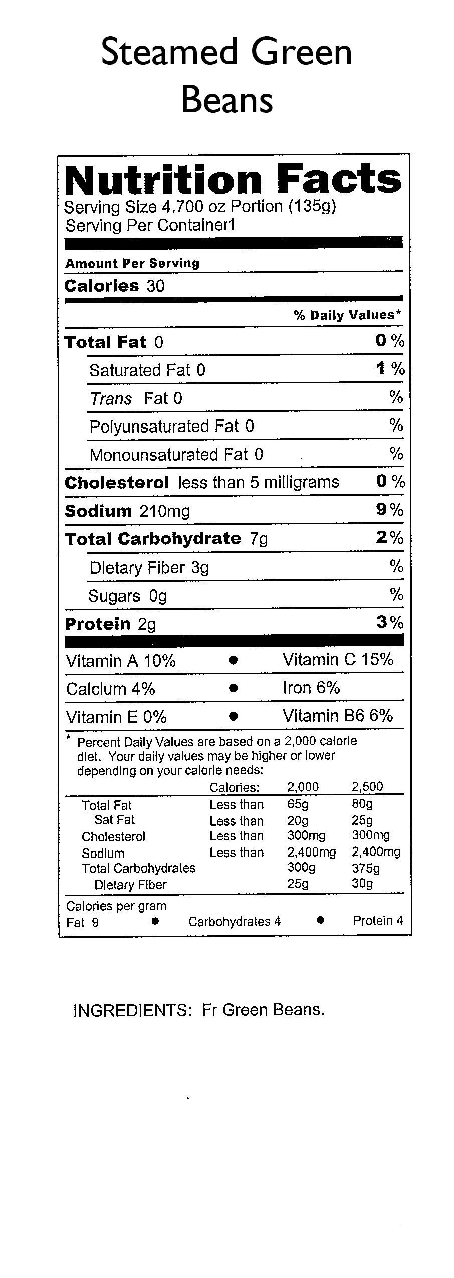 Green Bean Nutrition Facts  Green giant canned green beans nutrition label