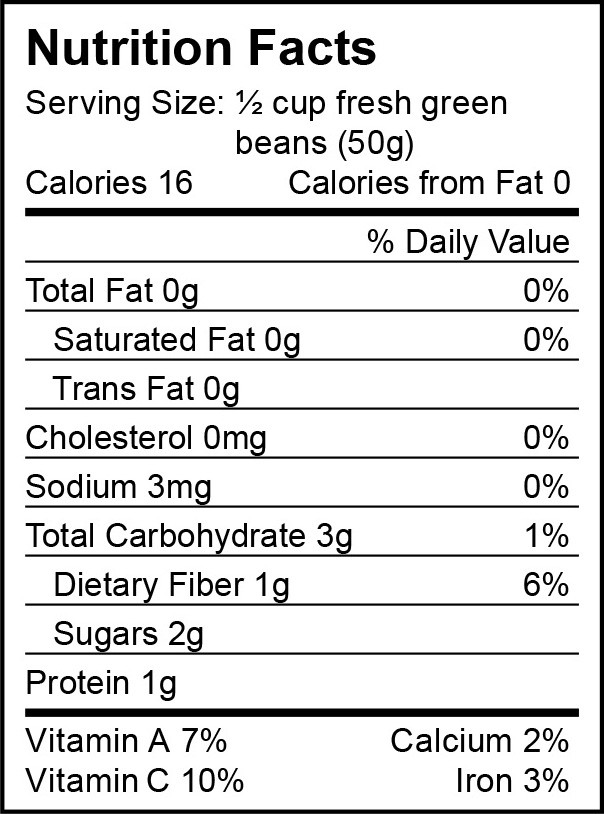 Green Bean Nutrition Facts  Harvest The Month nutritional facts