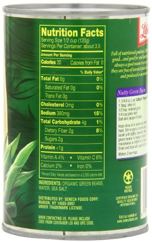 Green Bean Nutrition Facts  Libby s Organic Cut Green Beans 14 5 Ounce Can Pack of 12