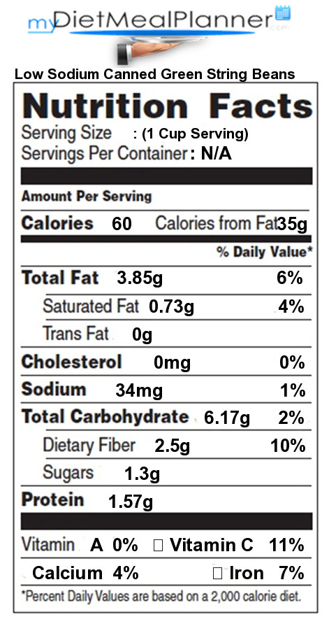 Green Bean Nutrition Facts  Nutrition facts Label Beans & Legumes 5