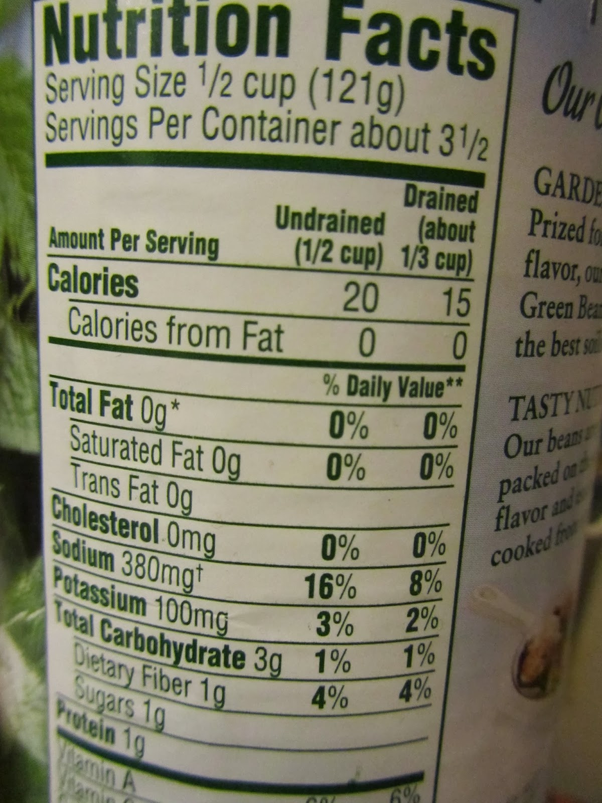 Green Bean Nutrition Facts  Vicky Ferguson RDN Tidbits Two Quick Ways to Reduce the