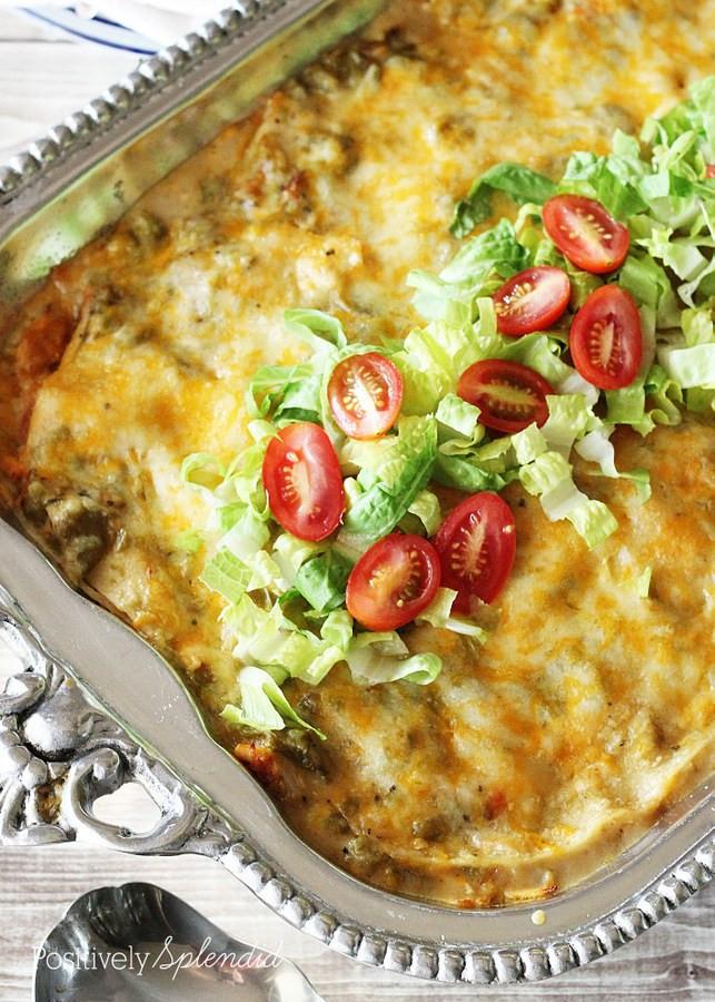 Green Chicken Enchiladas  Green Chile Chicken Enchiladas Casserole Recipe