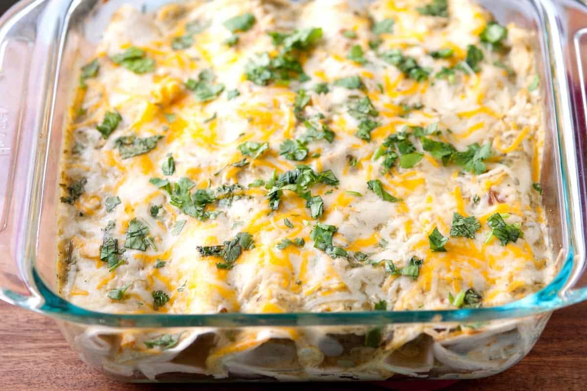 Green Chicken Enchiladas  Easy Salsa Verde Chicken Enchiladas Recipe