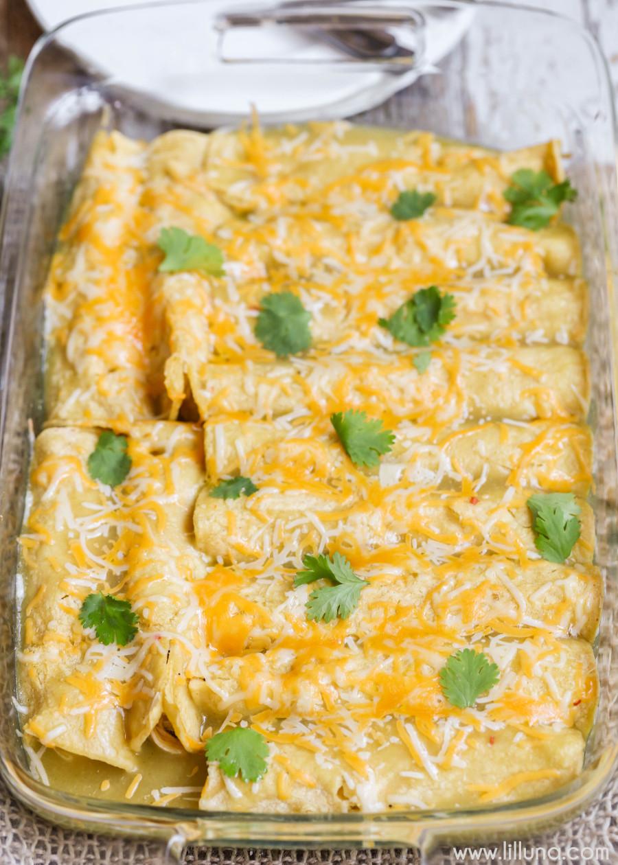 Green Chili Chicken Enchiladas  BEST Green Chile Chicken Enchiladas recipe