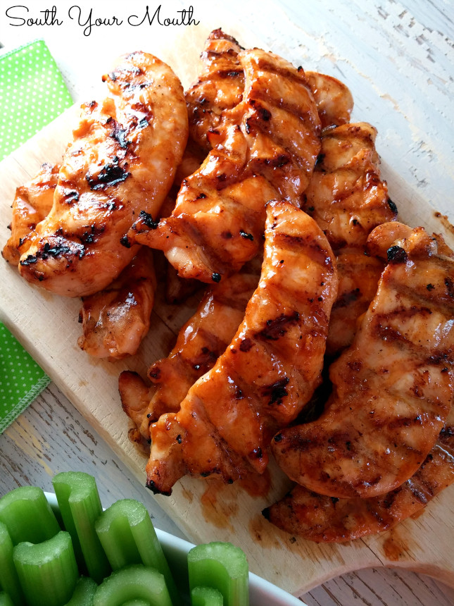 Grilled Chicken Tenders  South Your Mouth Buffalo Feathers Chicken Tenders with