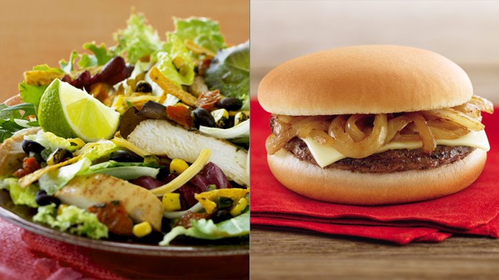 Grilled Onion Cheddar Burger  5 Things Nutritionists Order at McDonald's