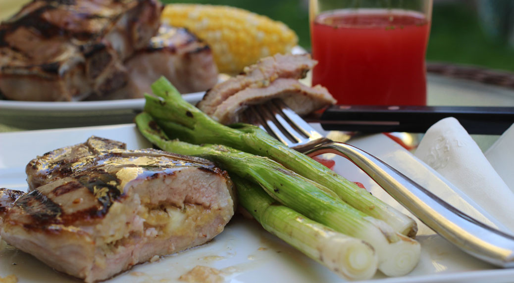 Grilled Stuffed Pork Chops  Grilled Pork Chops Stuffed with Cornbread Apple and