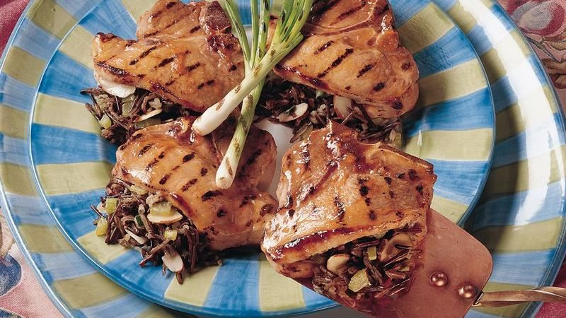 Grilled Stuffed Pork Chops  Grilled Wild Rice Stuffed Pork Chops recipe from Betty Crocker