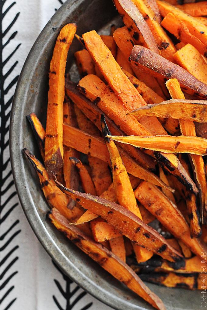 Grilled Sweet Potato Fries  Sweet Hot BBQ Tater Fries Recipe — Dishmaps