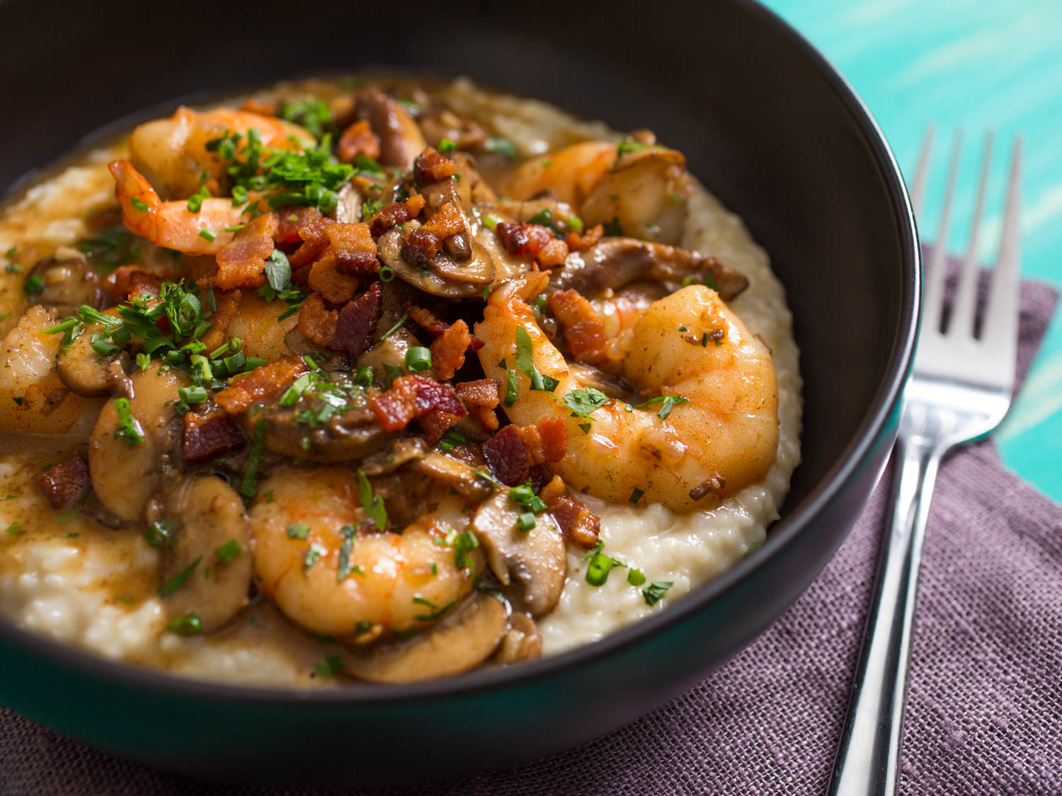 Grits And Shrimp  Upgrade Your Shrimp and Grits With Mushrooms Bacon and