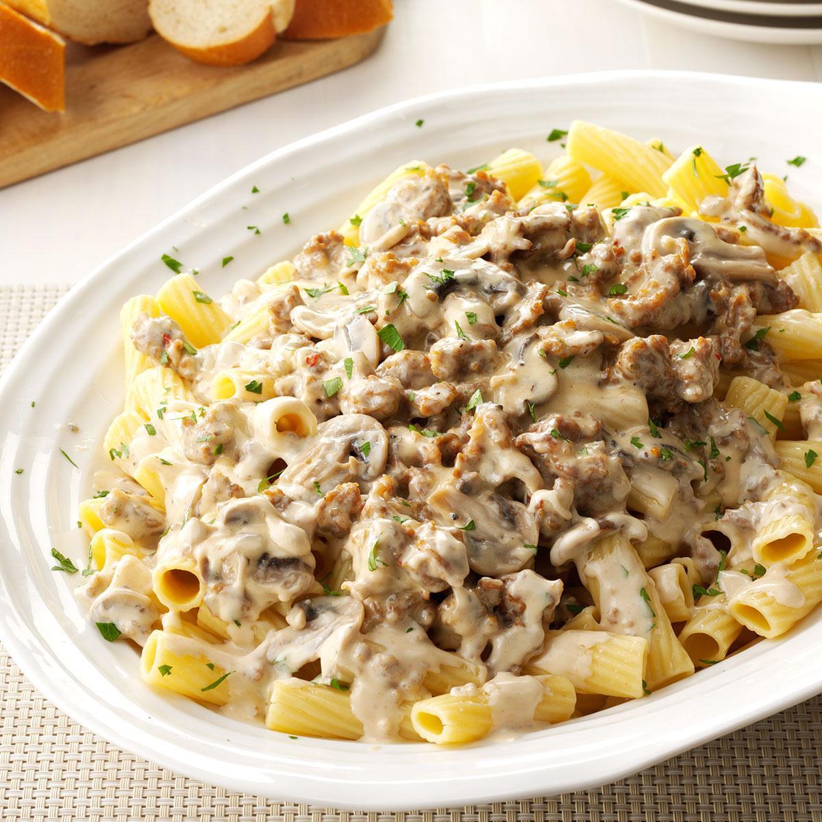 Ground Sausage Dinner Recipes  Creamy Sausage Mushroom Rigatoni Recipe