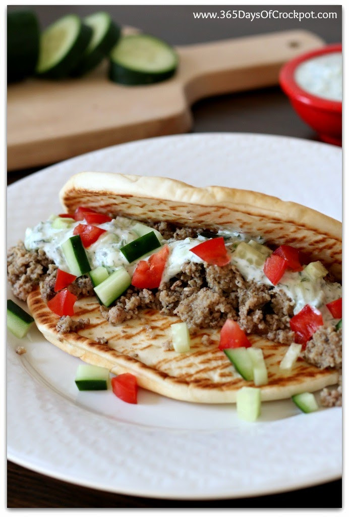 Ground Turkey Crock Pot Recipes  Slow Cooker Greek Turkey Pitas So Easy a Kid Could Do It
