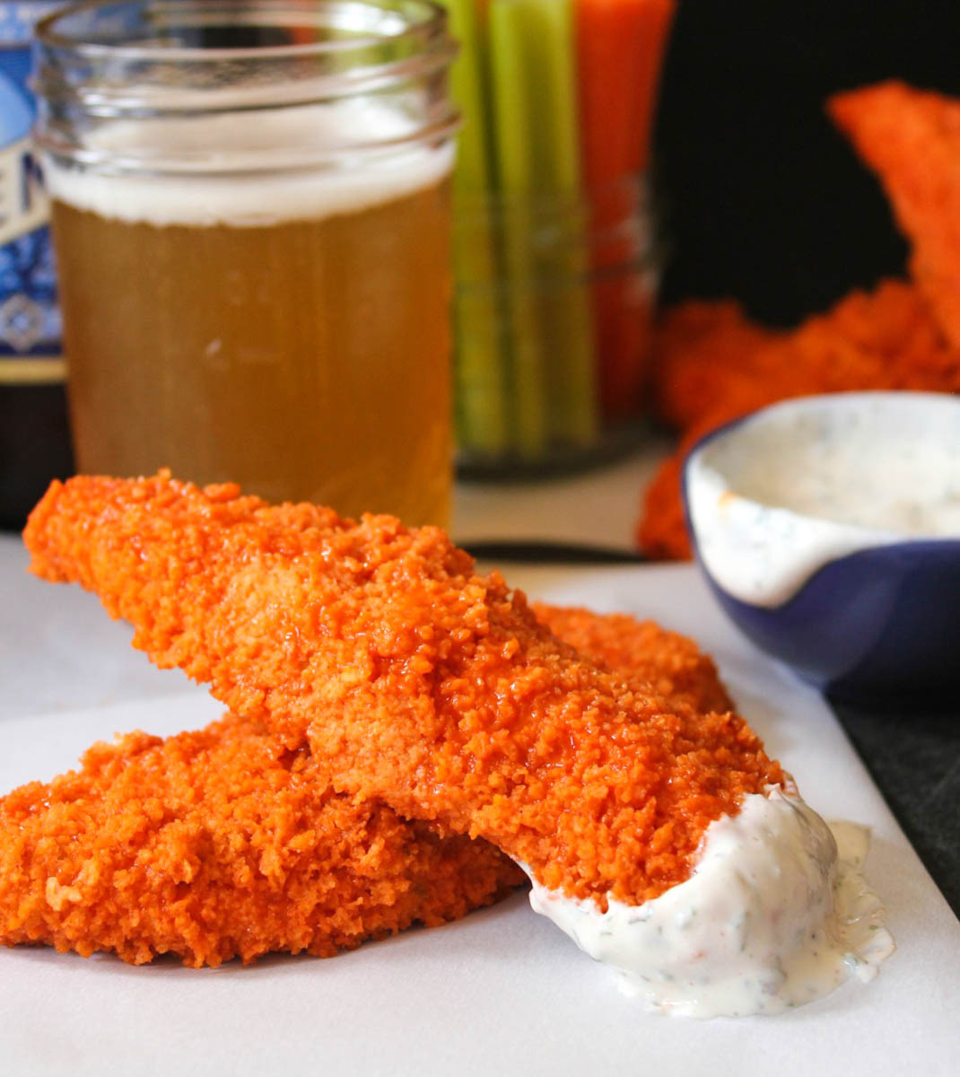 """Healthy Baked Chicken Tenders  The Dude Diet Buffalo Chicken """"Fingie"""" Edition"""