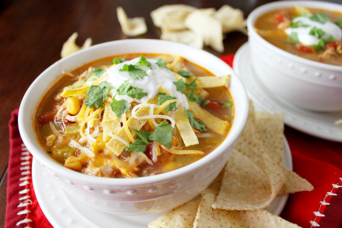 Healthy Chicken Tortilla Soup  Crockpot Chicken Tortilla Soup