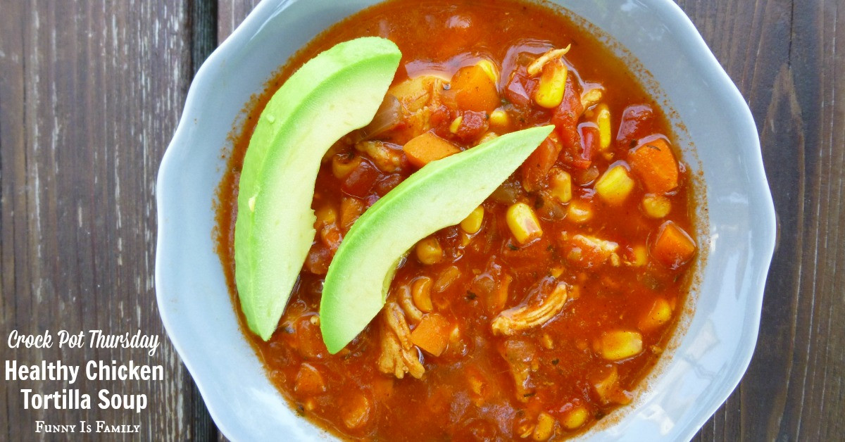 Healthy Chicken Tortilla Soup  Crock Pot Healthy Chicken Tortilla Soup