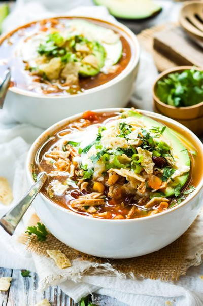 Healthy Chicken Tortilla Soup  Healthy Slow Cooker Chicken Tortilla Soup