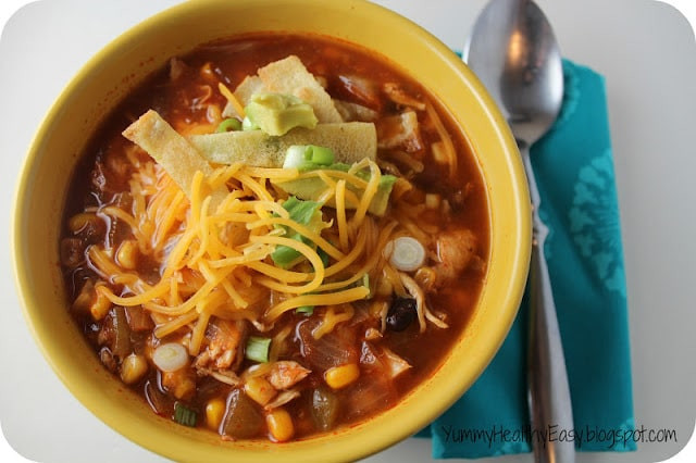 Healthy Chicken Tortilla Soup  Healthy Crock Pot Chicken Tortilla Soup Yummy Healthy Easy