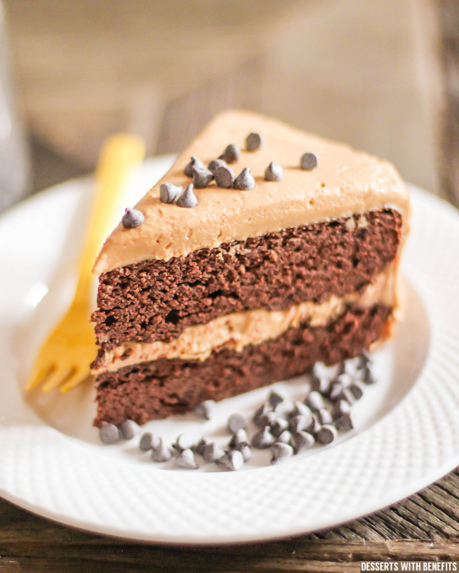 Healthy Chocolate Cake  Healthy Chocolate Cake with Peanut Butter Frosting