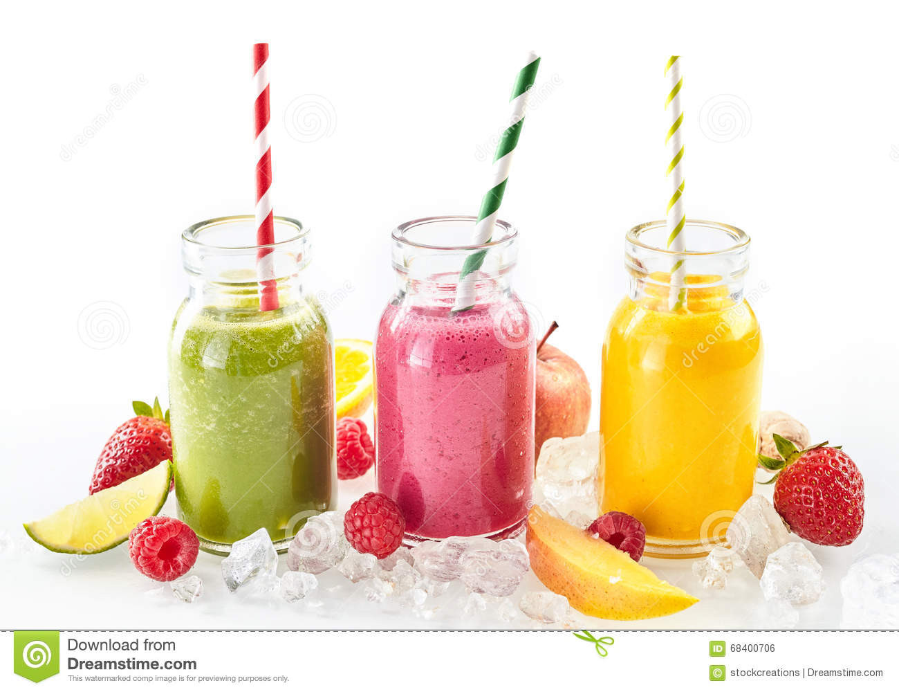 Healthy Fruit Smoothies  Three Healthy Smoothies With Fresh Tropical Fruit Stock