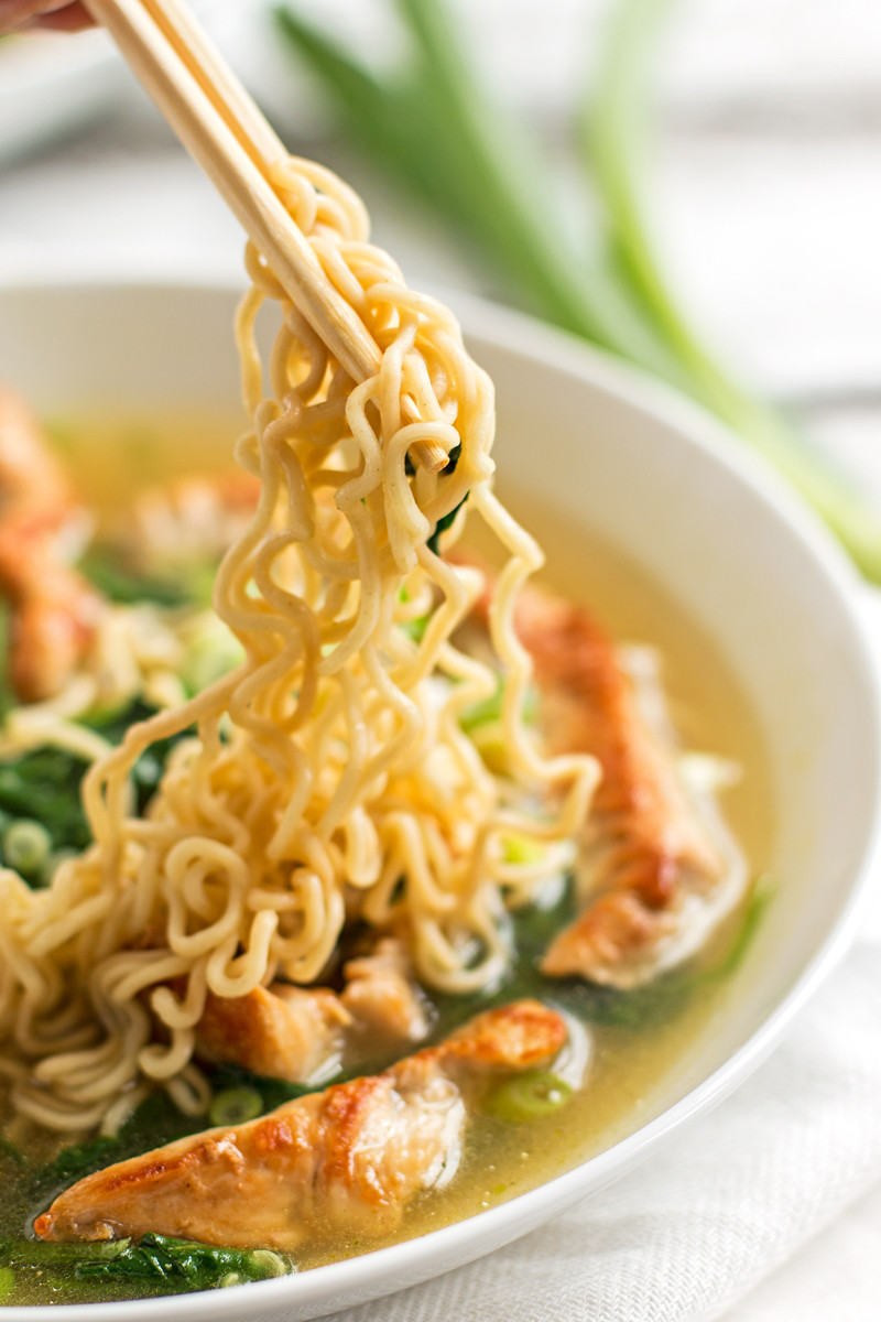 Healthy Instant Noodles  Healthy Turkey Ramen Bowls with Spinach