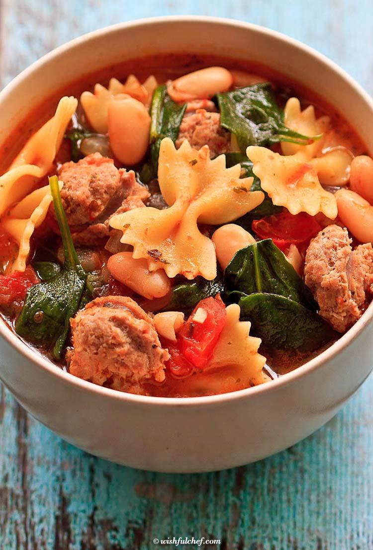 Healthy Italian Recipes  Healthy Italian Winter Soup with Turkey Sausage Wishful Chef