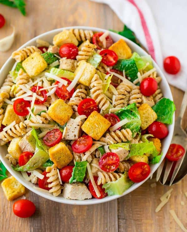 Healthy Pasta Salad  Chicken Caesar Pasta Salad