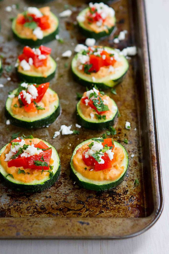 Healthy Vegetarian Appetizers  Baked Zucchini Hummus Bites Healthy Snack or Appetizer
