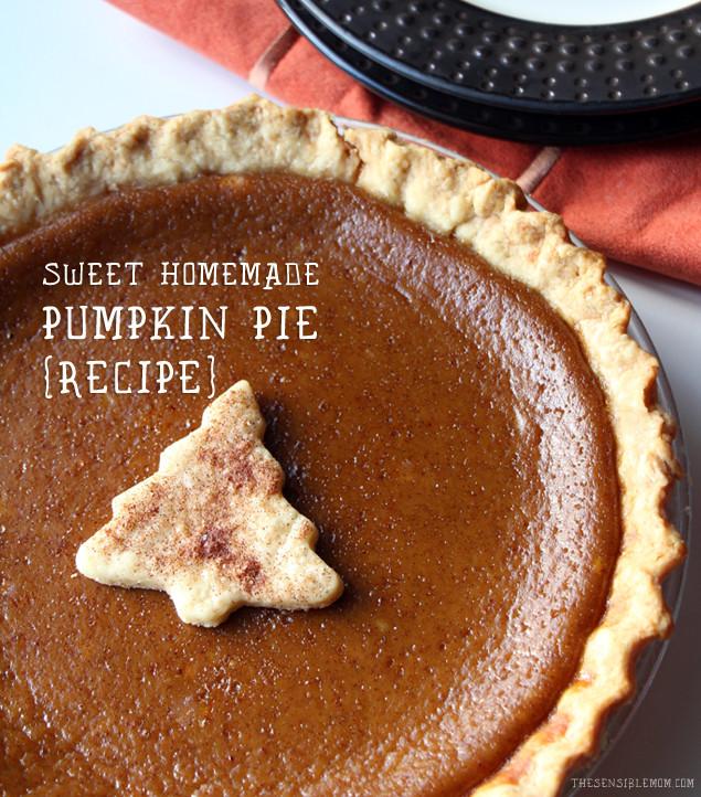 Homemade Pumpkin Pie Recipe  Sweet Homemade Pumpkin Pie Recipe
