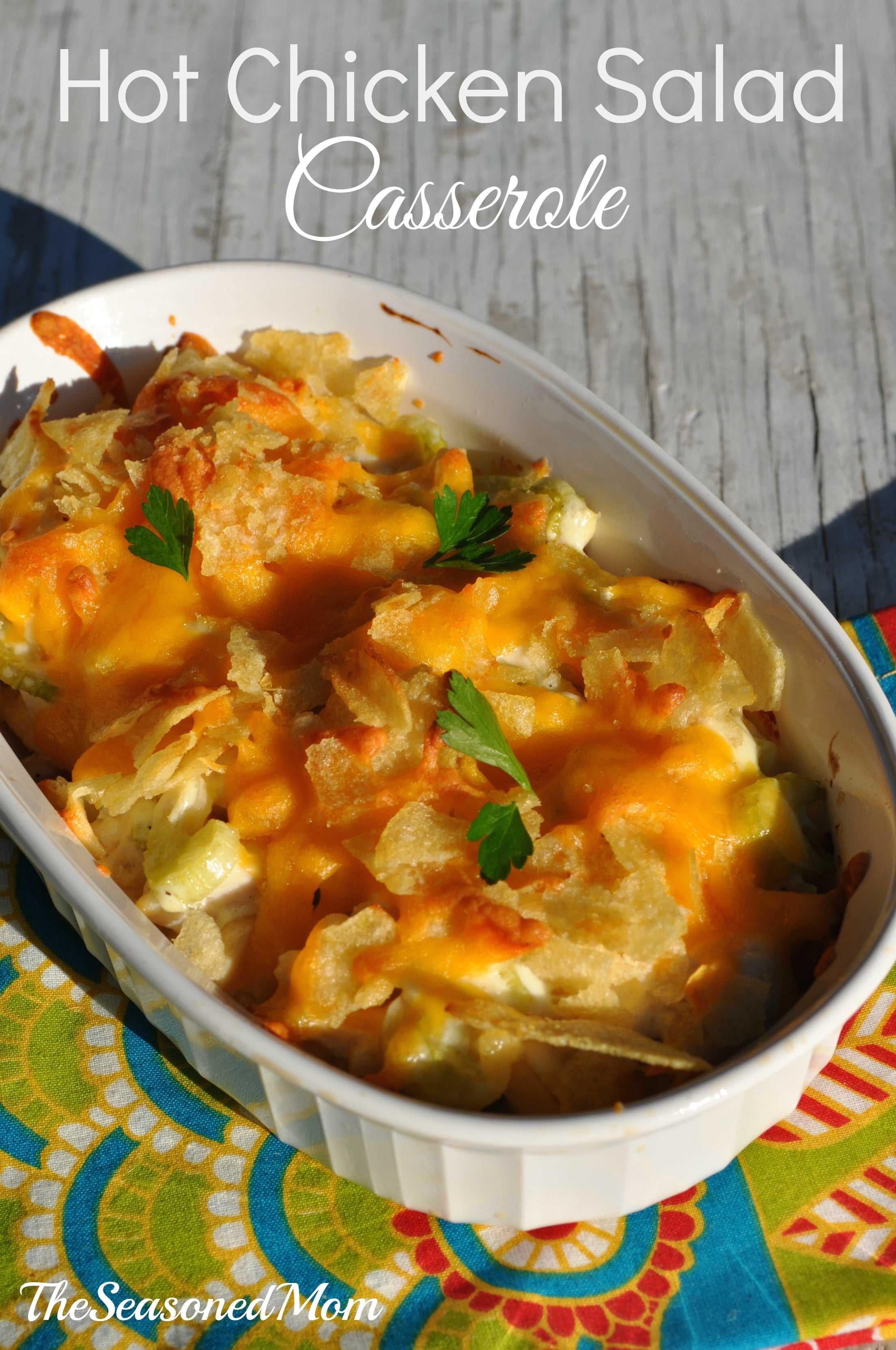 Hot Chicken Salad Casserole  Hot Chicken Salad Casserole The Seasoned Mom