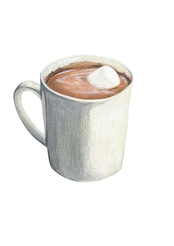 Hot Chocolate Clipart  Hot Chocolate with Marshmallow Original Illustration