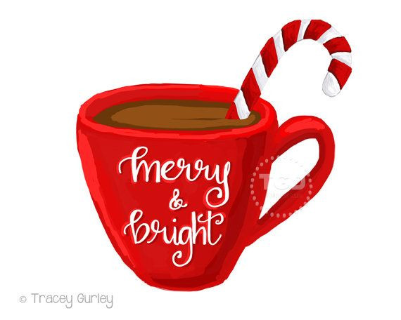 Hot Chocolate Clipart  Merry and Bright hot cocoa clipart coffee cup clipart