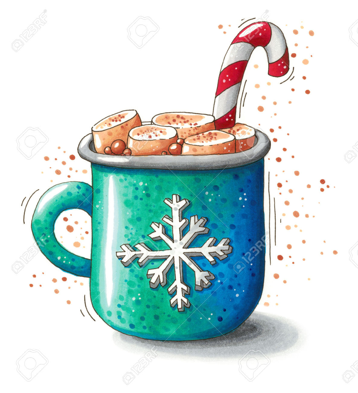 Hot Chocolate Clipart  Snowflake clipart mug Pencil and in color snowflake