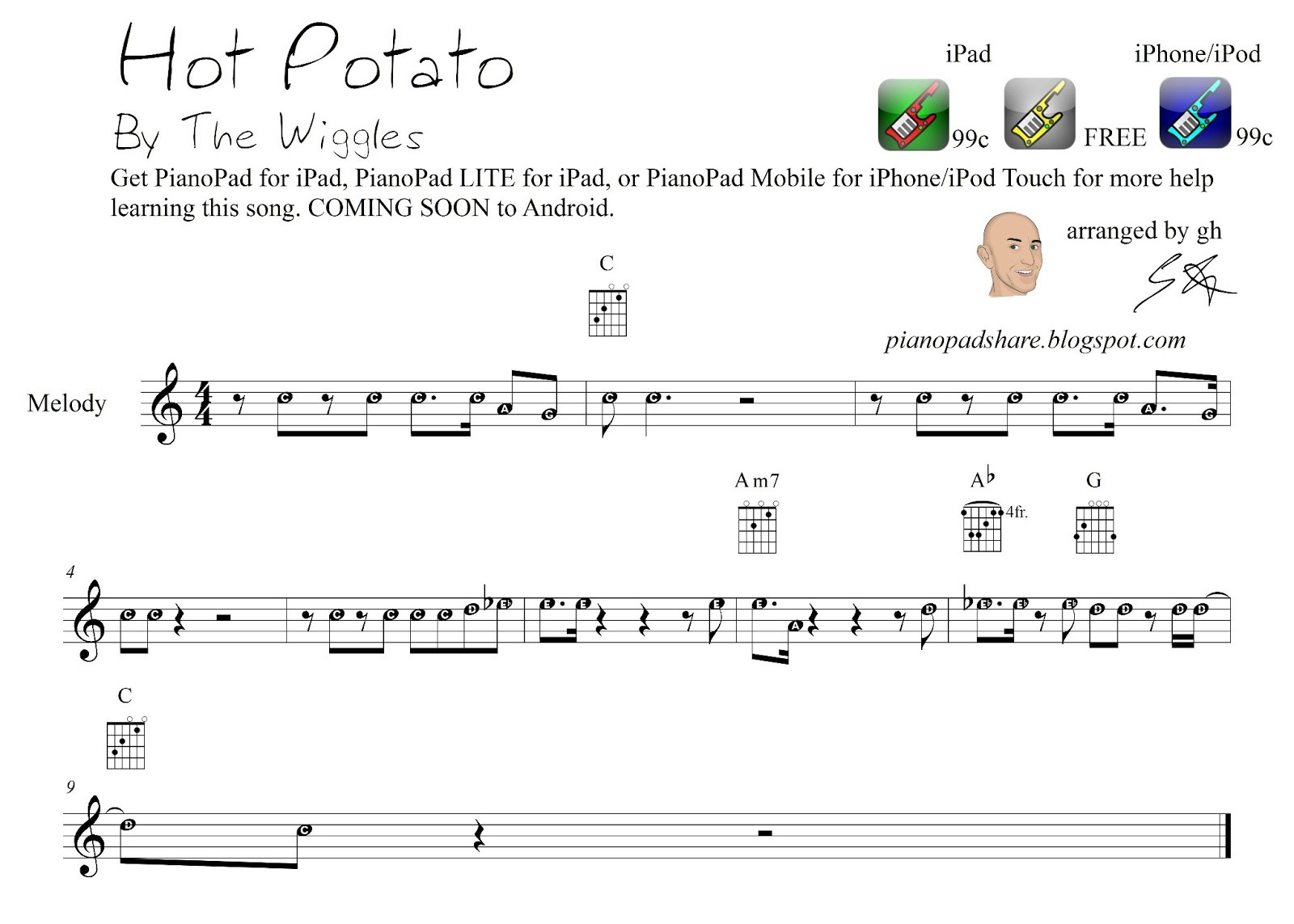 """Hot Potato Song  PianoPad Upload munity """"Hot Potato"""" by the Wiggles AS"""