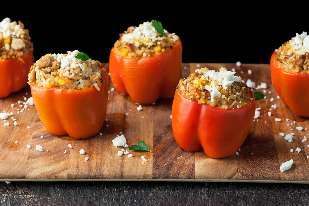 How To Cook Ground Chicken  Stuffed Red Bell Peppers with Ground Chicken Recipe