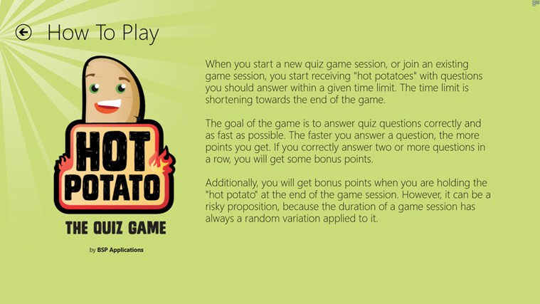 How To Play Hot Potato  Hot Potato The Quiz Game for Windows 8 and 8 1