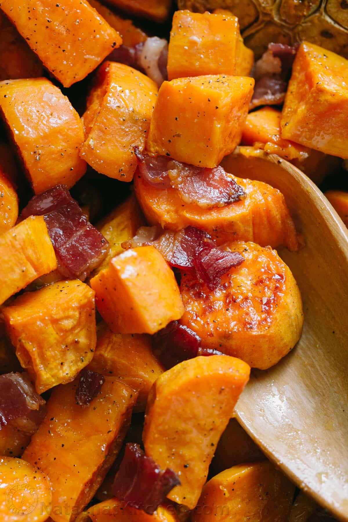 How To Roast A Sweet Potato  Maple Roasted Sweet Potatoes and Bacon NatashasKitchen