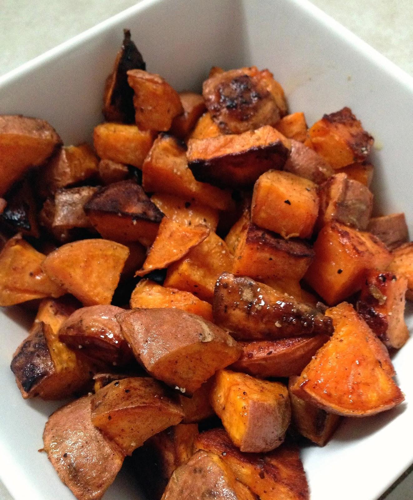 How To Roast A Sweet Potato  taylor made coconut oil & honey roasted sweet potatoes