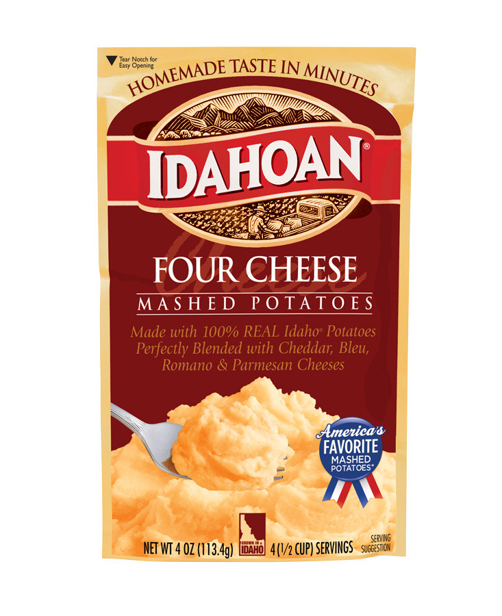 Idahoan Instant Mashed Potatoes  Four Cheese Flavored Mashed Potatoes Package